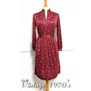 Vintage 1970s Burgundy Polyester Dress size 10
